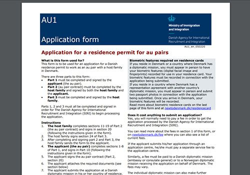 Au pair Contract (AU1 Application form)